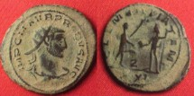 Ancient Coins - PROBUS AE antoninianus. Antioch mint. CLEMENTIA TEMP, Jupiter & Probus standing, Z between