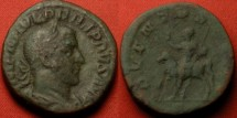 Ancient Coins - PHILIP I THE ARAB AE sestertius. Rome, 247 AD. ADVENTVS AVGG, Philip on horseback. Scarce