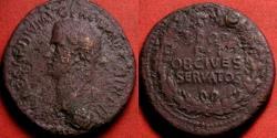 Ancient Coins - CALIGULA AE portrait sestertius. OB CIVES SERVATOS, legend in oak wreath. FInal issue, 40-41 AD