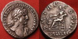 Ancient Coins - HADRIAN AR silver denarius. Salus seated, feeding serpent. Nice heroic style bust