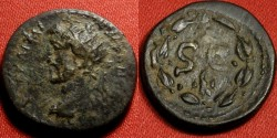 Ancient Coins - ANTONINUS PIUS AE 19mm radiate. Antioch. SC in wreath, eagle below. Left facing bust