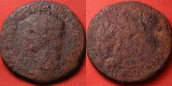 Ancient Coins - NERO CLAUDIUS DRUSUS AE sestertius. Claudius seated, scattered arms at his feet.