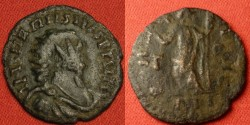 Ancient Coins - CARAUSIUS AE antoninianus. Londinium mint. Pax standing. Overstruck on an antoninianus from the 280's AD of Carus, or Diocletian, etc.
