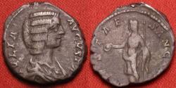 Ancient Coins - JULIA DOMNA AR silver denarius VESTA SANCTAE, Laodicea mint. Scarce