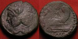 Ancient Coins - SEXTUS POMPEY AE as. Struck in Sicily, 43-36 BC. Prow of Galley, head of Janus with features of Pompey the Great