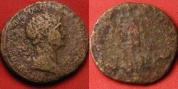 Ancient Coins - TRAJAN AE orichalcum dupondius. Late reign issue, figure standing left.