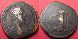 Ancient Coins - COMMODUS AE sestertius. Rome, 183 AD. Providentia standing, holding long scepter, and wand over globe set on ground.