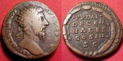 Ancient Coins - MARCUS AURELIUS AE dupondius. PRIMI DECENNALES, five lines within wreath. Rome, 171 AD.