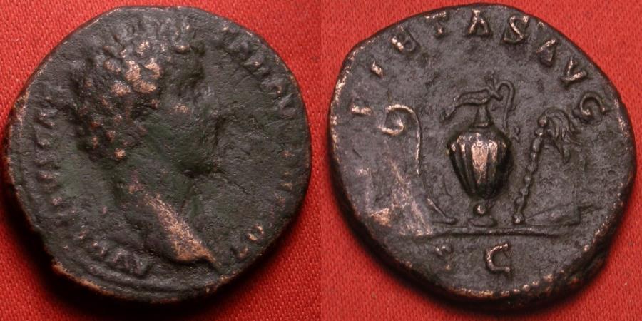 Ancient Coins - MARCUS AURELIUS CAESAR AE as. Rome, 142 AD. PIETAS AVG, four sacrificial implements. Nice reverse.