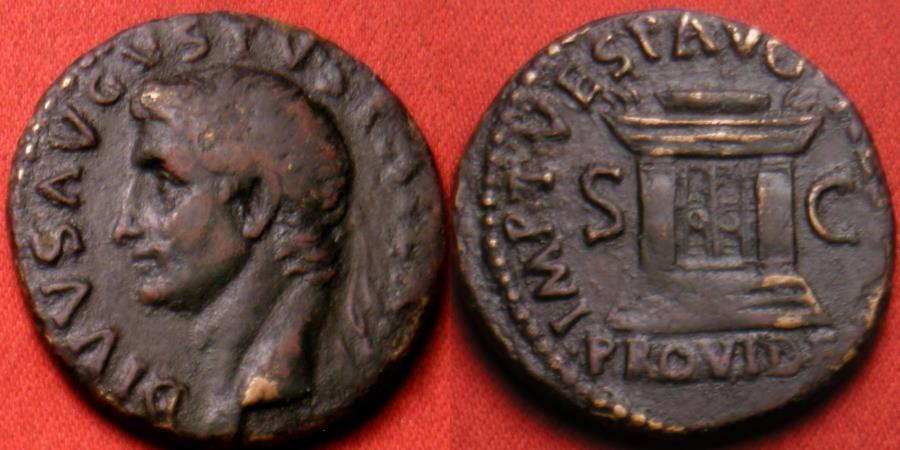 Ancient Coins - DIVUS AUGUSTUS AE as. Restoration issue by TITUS. PROVIDENT, with altar. Scarce.