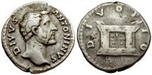 Ancient Coins - Divus Antoninus Pius AR Denarius / Altar
