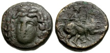 Ancient Coins - Thessaly.  Larissa Æ18 / Nymph and Horseman