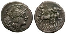 Ancient Coins - 130 BC - Roman Republic. M. Vargunteius AR Denarius / Jupiter in Quadriga
