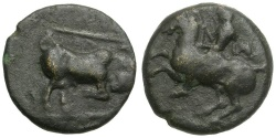 Ancient Coins - Thessaly.  Krannon Æ13 / Horseman / Bull