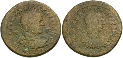 Ancient Coins - Caracalla and Julia Domna. Cilicia. Soloi-Pompeiopolis Æ34 / Dual Busts