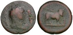 Ancient Coins - Domitian (AD 81-96). Egypt. Alexandria Æ Diobol / Apis Bull