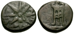 Ancient Coins - gF+/gF+ Pontic Kings of the Bosporus, Mithradates VI Eupator, Pantikapaion Æ Dichalkon / Tripod / Star