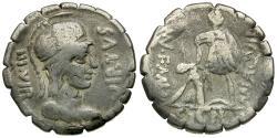 Ancient Coins - 65 BC - Roman Republic. Mn. Aquillius Mn.f. Mn.n. AR Serrate Denarius / Aquilius Raising Sicily
