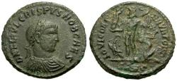 Ancient Coins - VF/gF Crispus Æ3 / Jupiter