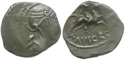 Ancient Coins - Ancient France. Celtic Gaul. Allobrages AR Quinarius / Warrior on Horseback