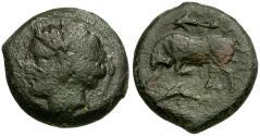 Ancient Coins - Sicily. Syracuse. Agathokles Æ23 / Bull and Dolphins