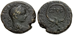 Ancient Coins - Severus Alexander.  Samaria.  Caesarea Æ23 / Eagle with Wreath