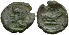 Ancient Coins - Sicily. Panormos Æ15 / Prow