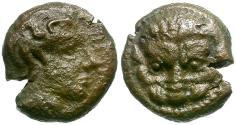 Ancient Coins - Bruttium. Rhegion Æ10 / Lion Scalp