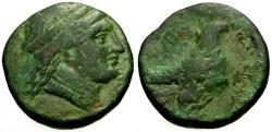 Ancient Coins - VF/VF Elis,  Olympia Æ24 / Hera / Eagle