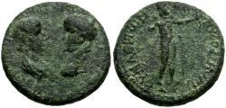 Ancient Coins - Nero and Agrippina Junior. Phrygia. Synaus Æ19 / Apollo