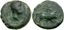 Ancient Coins - Spain. Iberia. Castulo Æ Semis / Boar