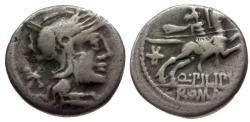 Ancient Coins - gF+/gF+ 129 BC - Roman Republican Q. Marcius Pilipus AR Denarius / Horseman