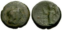 Ancient Coins - gF+/gF+ Phoenicia Akko Ptolemais Civic Æ16 / Dioscuri / Tyche