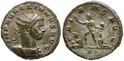 Ancient Coins - Aurelian (AD 270-275) Silvered Æ Antoninianus / Sol with Captives