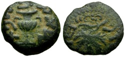 Ancient Coins - Judaea. First Revolt Against Rome Æ Prutah / Amphora and Vine Leaf