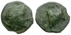 Ancient Coins - Lesbos. Mytilene Æ9 / Bull