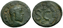 Ancient Coins - Macrinus. Seleucia and Pieria. Antioch Æ19 / Wreath