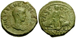 Ancient Coins - Herennius Etruscus, Moesia Superior Viminacium Æ27 / Moesia, Bull and Lion