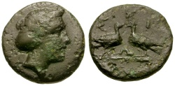 Ancient Coins - Macedon. Skione Æ16 / Two Eagles