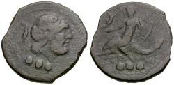 Ancient Coins - Calabria. Brundisium Æ Quadrans / Phalanthos