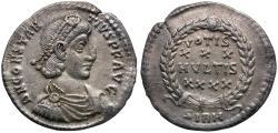 Ancient Coins - Constantius II (AD 337-361) AR Siliqua / Votive wreath