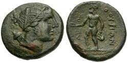 Ancient Coins - Lucania.  Thurioi. Magistrate Kleon Æ18 / Apollo