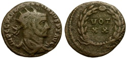 Ancient Coins - Diocletian Æ Radiate Fraction / Wreath