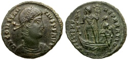 Ancient Coins - Constantius II Æ Centenionalis / Emperor and Victory on Galley