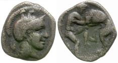 Ancient Coins - Calabria. Tarentum AR Diobol / Herakles