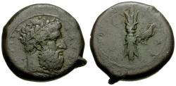 Ancient Coins - Sicily.  Syracuse Æ Hemilitron / Zeus and Thunderbolt