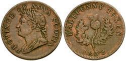 World Coins - Canada. King George IV. Nova Scotia Æ Halfpenny Token