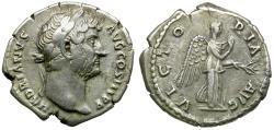 Ancient Coins - Hadrian (AD 117-138) AR Denarius / Victory-Nemesis