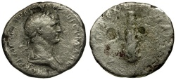 Ancient Coins - Trajan. Cappadocia. Caesarea AR Didrachm / Club