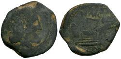Ancient Coins - 46-45 BC - Roman Republic.  Gnaeus Pompey Jr. Æ AS / CN MAG IMP